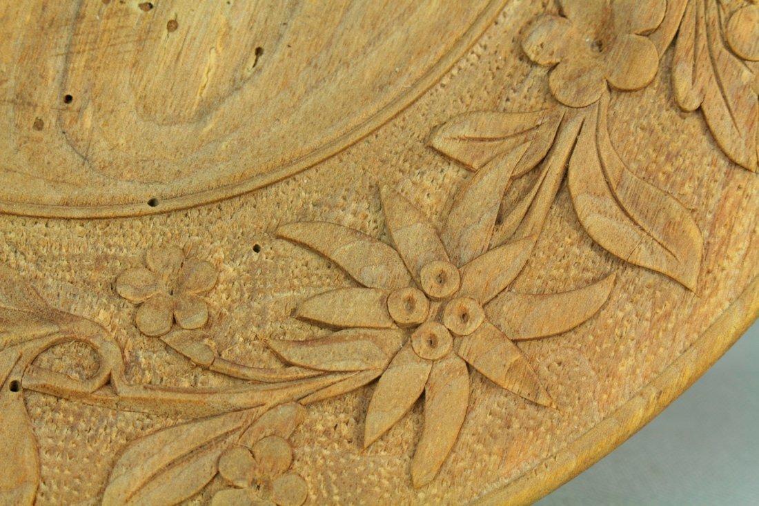1800s Tyrol/Bavaria Folk Art Treen Ware Plate Edelweiss - 3
