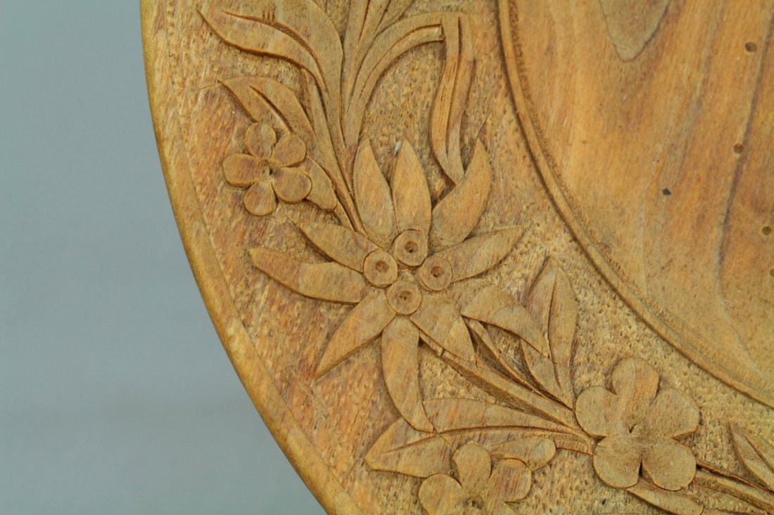 1800s Tyrol/Bavaria Folk Art Treen Ware Plate Edelweiss - 4