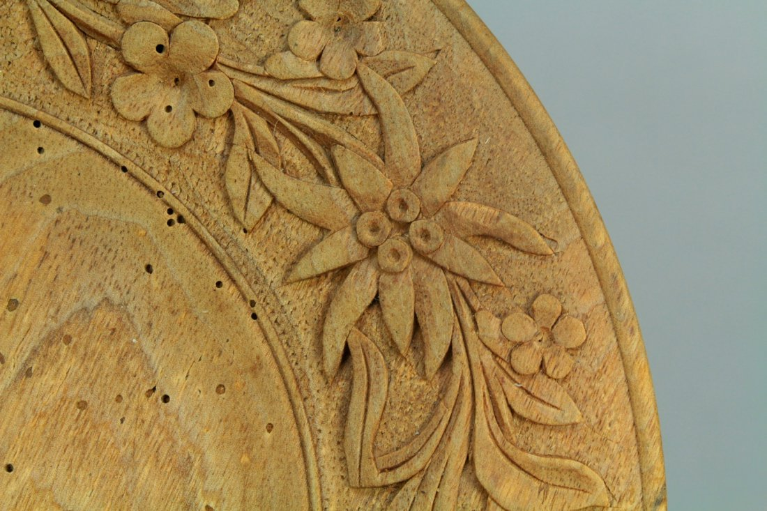 1800s Tyrol/Bavaria Folk Art Treen Ware Plate Edelweiss - 6