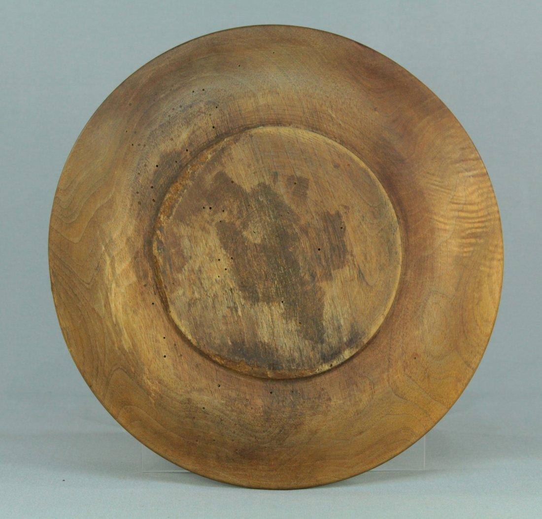 1800s Tyrol/Bavaria Folk Art Treen Ware Plate Edelweiss - 7