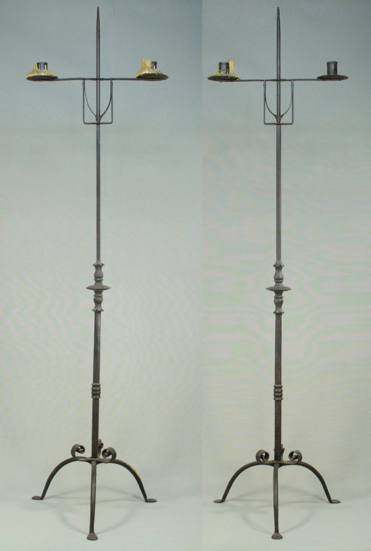 Antique Pair Wrought Iron Tall Floor Candle Holders