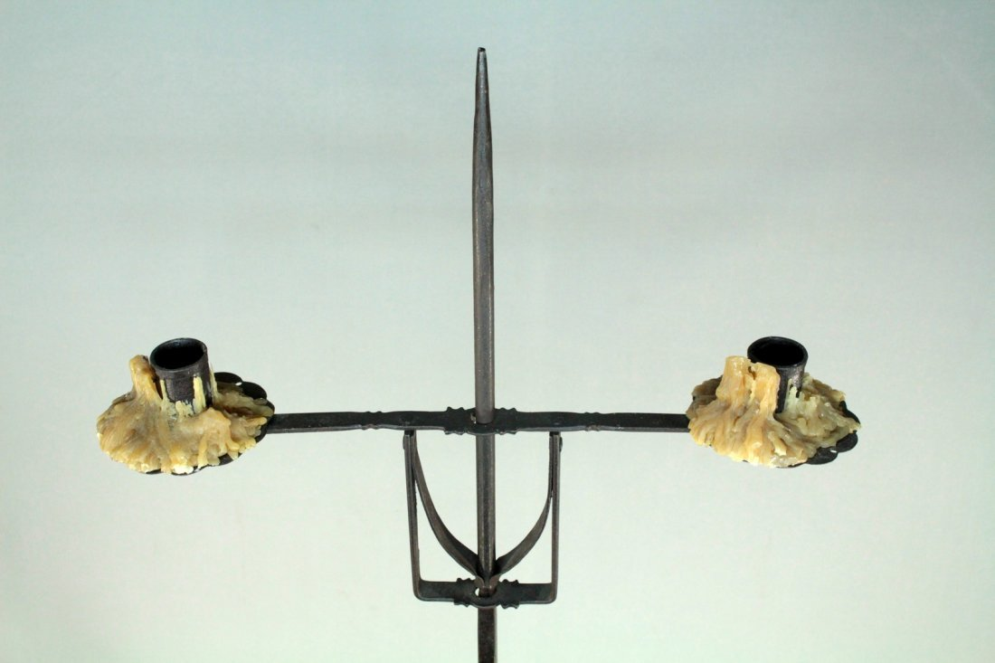 Antique Pair Wrought Iron Tall Floor Candle Holders - 2