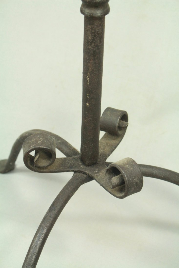 Antique Pair Wrought Iron Tall Floor Candle Holders - 5