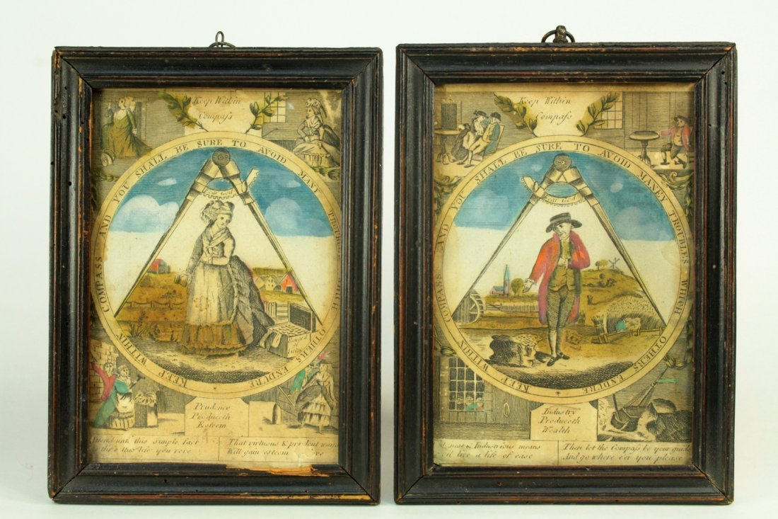 18th Cent. EARLY MASONIC Pair Hand Colored Etchings