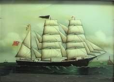 Chinese Reverse Glass Portrait of British 3Master Ship
