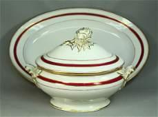 1800's Old Paris Porcelain Lg Covered Serving Tureen