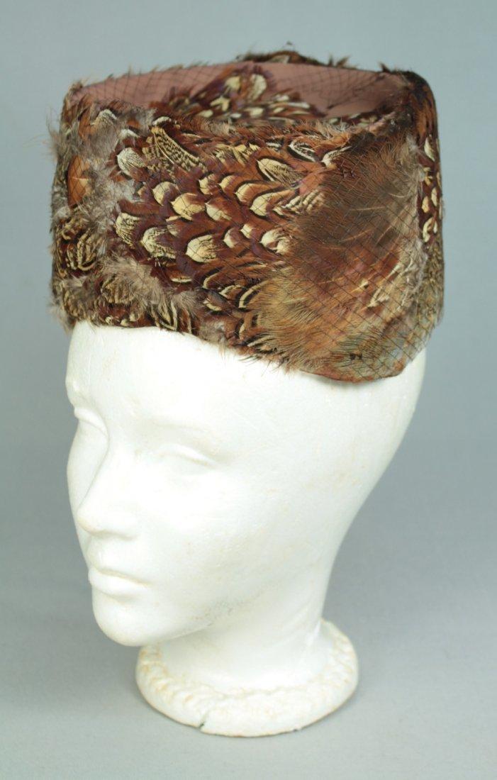 Vintage c.1930-40's Women's Feathered Pillbox Hat