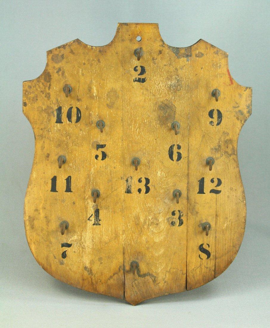 Antique Shield-Shaped Key Rack Board Holder Police/Jail