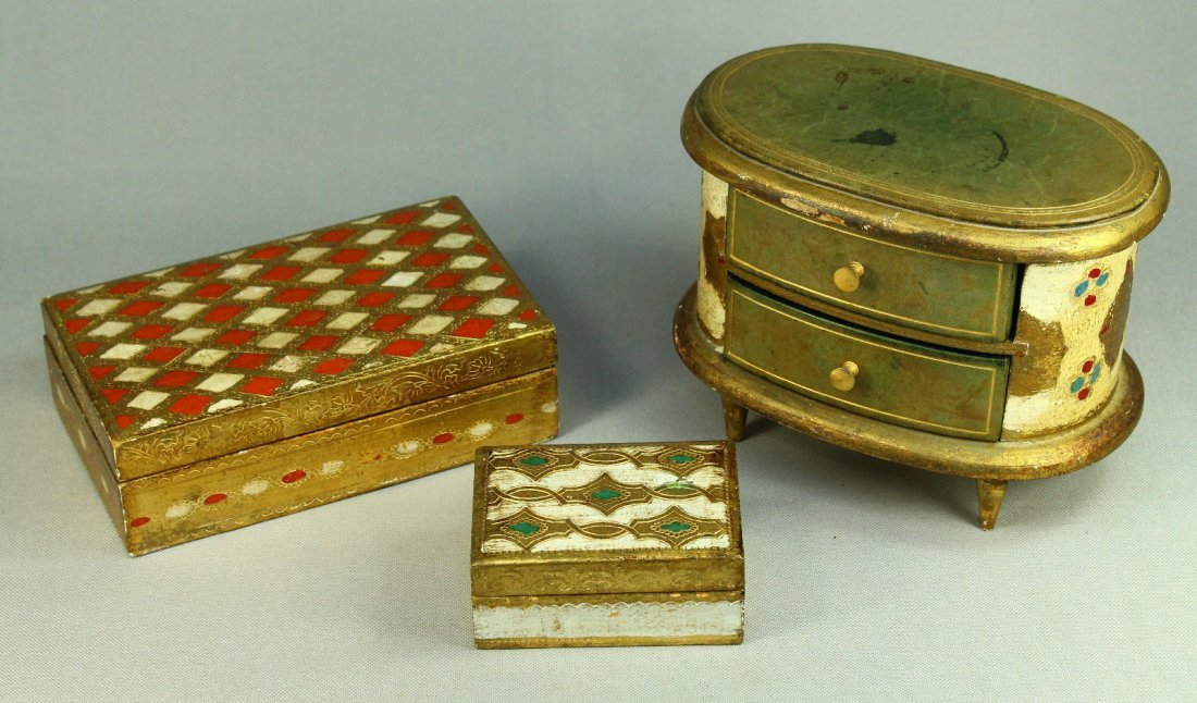Vintage Lot of 3 DAYTON'S Italian Gilt Wood Jewelry Box