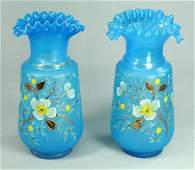 Pair Victorian Blown Bristol Blue Satin Glass Vases