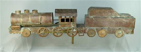 Copper  Brass FOLK ART Weathervane Steam Locomotive