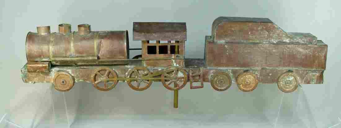 Copper & Brass FOLK ART Weathervane Steam Locomotive