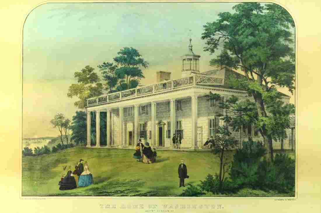 """Antique Currier & Ives """"Home of Washington"""" Lithograph"""