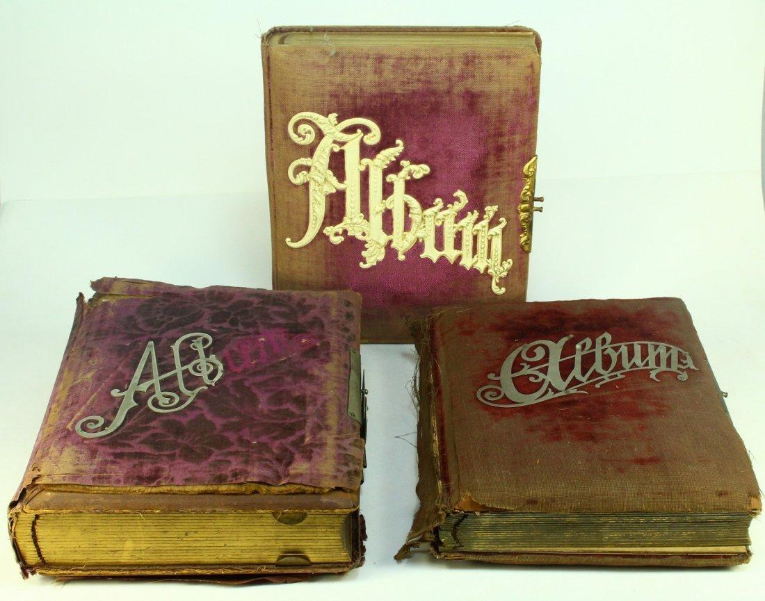 Lot of 3 Art Nouveau Velvet & Celluloid Photo Albums