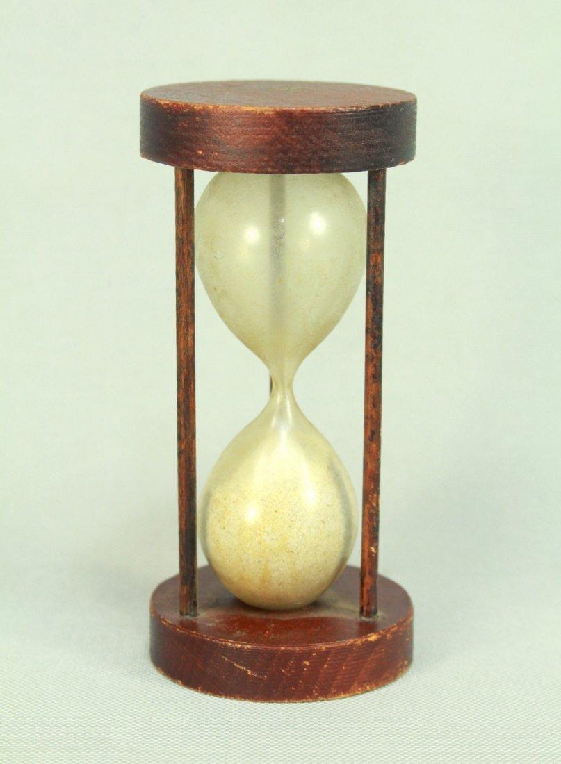 19th C. Blown Glass & Wood Hourglass Sand Timer Clock
