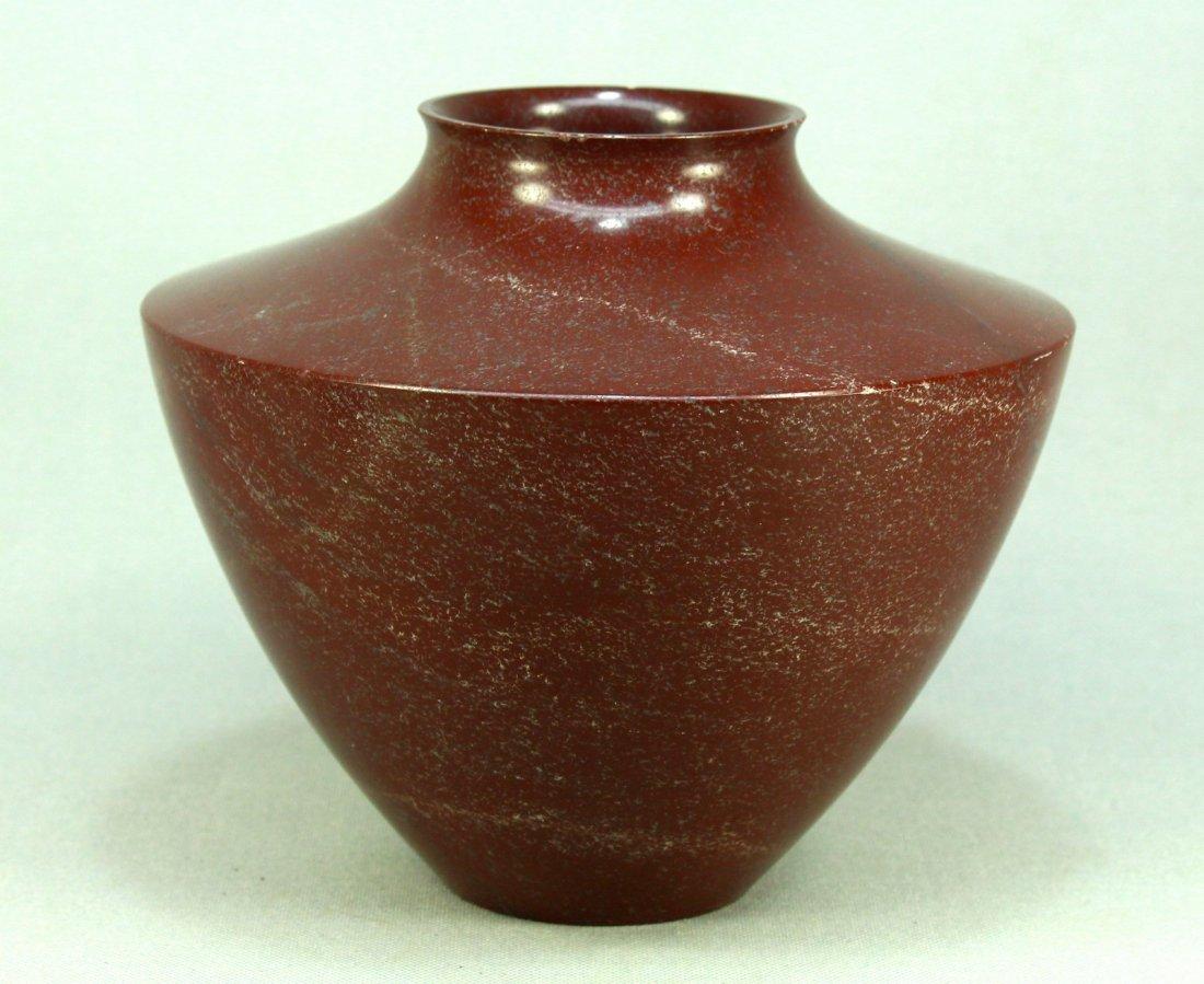 Polished Turned Red Jasper Stone Vase