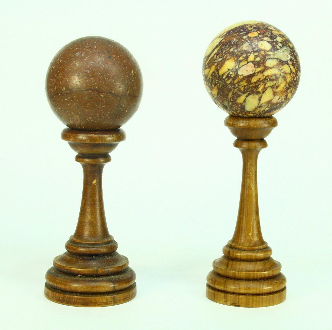 19th C. Porphyry & Breccia Marble Stone Sphere Samples