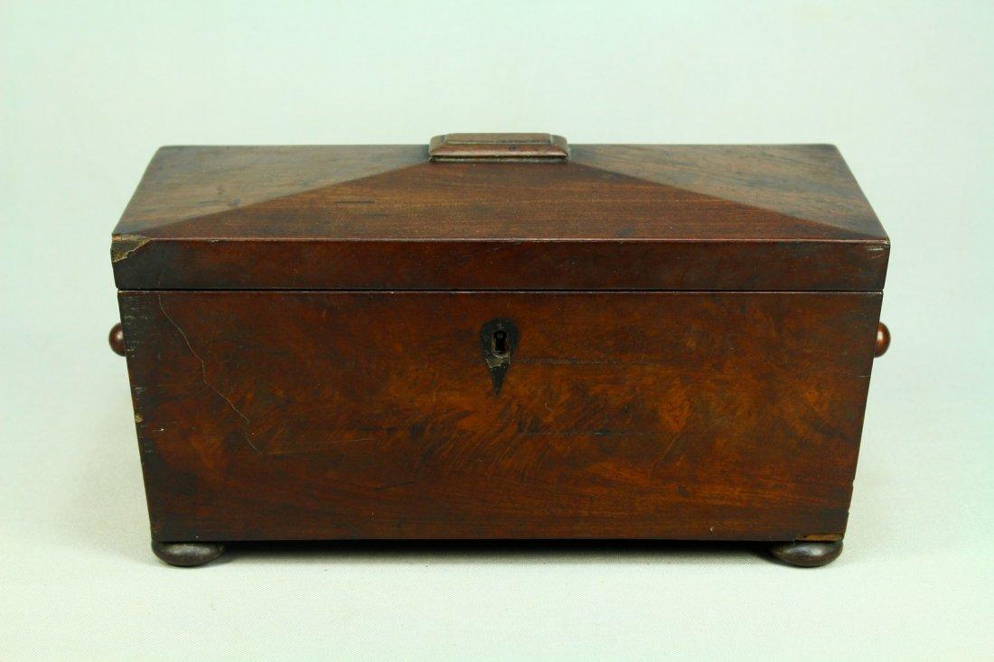 Ea.1800's Mahogany Veneered Casket Tea Caddy, Regency