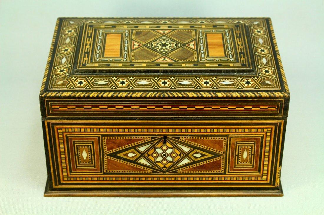 19th c. Inlaid Marquetry Tunbridge Jewelry Box, M-O-P