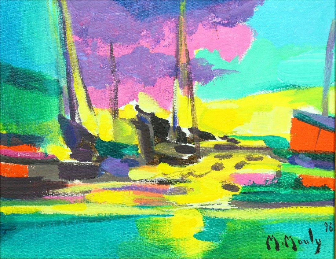 Marcel Mouly (French, 1918-2008) O/C Les Barques Noires