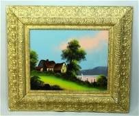 19th Cent. Framed Reverse Glass Painting - Farmstead