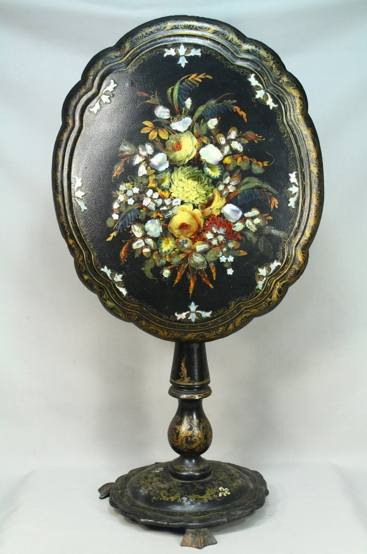 Victorian Mother of Pearl Inlay Lacquer Tilt Top Table