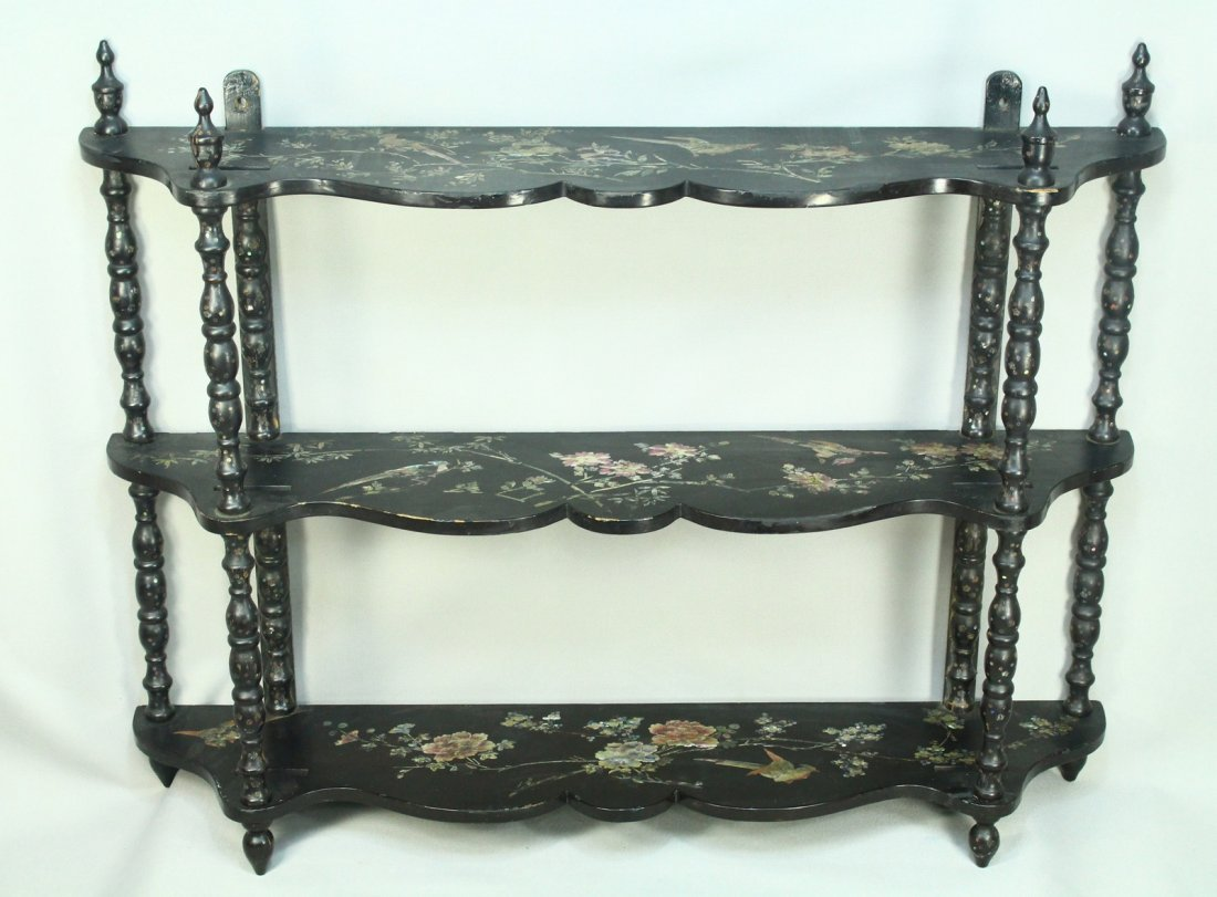 Victorian Mother of Pearl Inlay Lacquered Wood Shelf