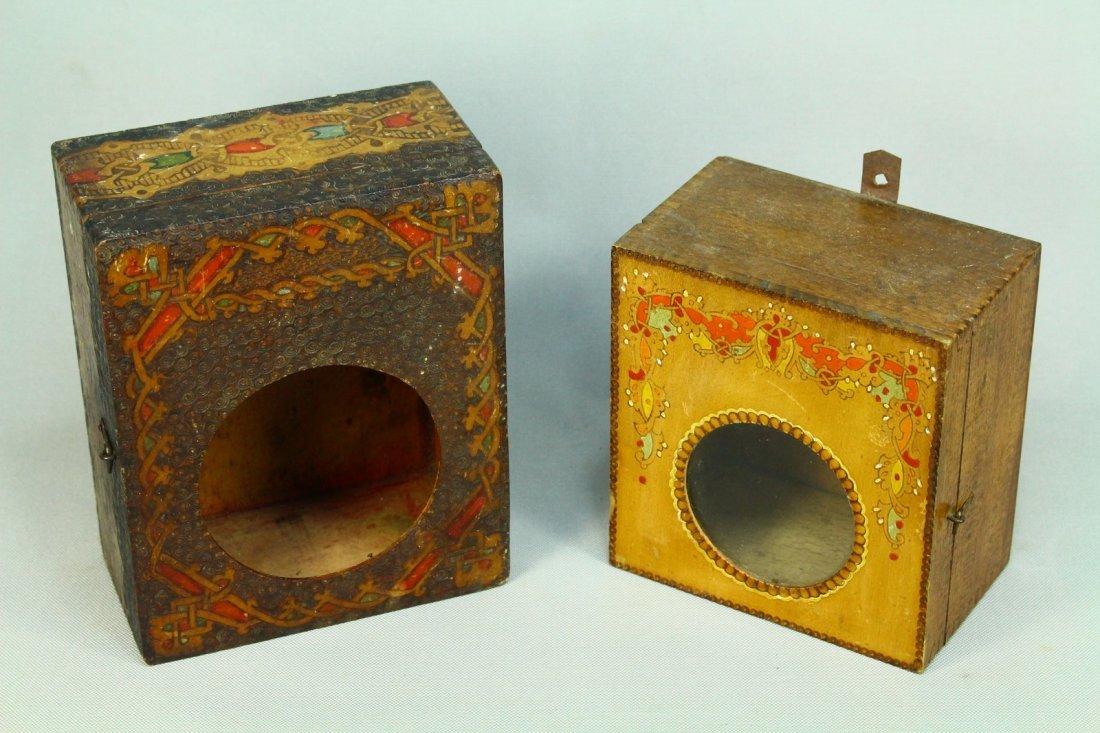 Two Irish Folk Art Celtic Motifs Wooden Clock Boxes