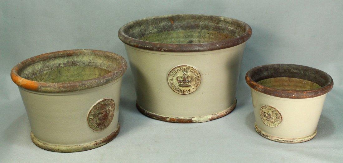 Set of 3 Stoneware Planters ROYAL BOTANIC GARDENS KEW