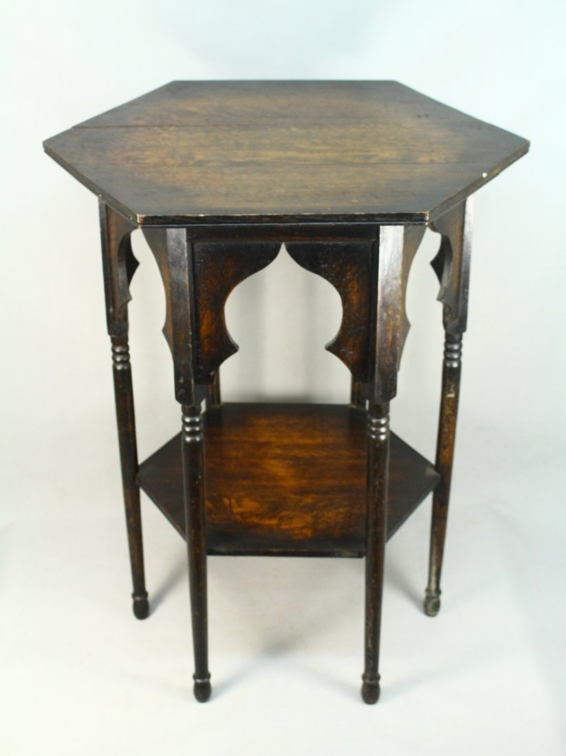 1880's English ARTS-N-CRAFTS Hexagonal Ocassional Table
