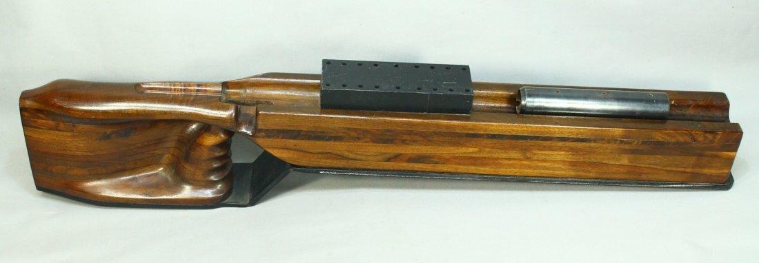 Large Walnut Wood & Steel Gun Rifle Cleaning Stand