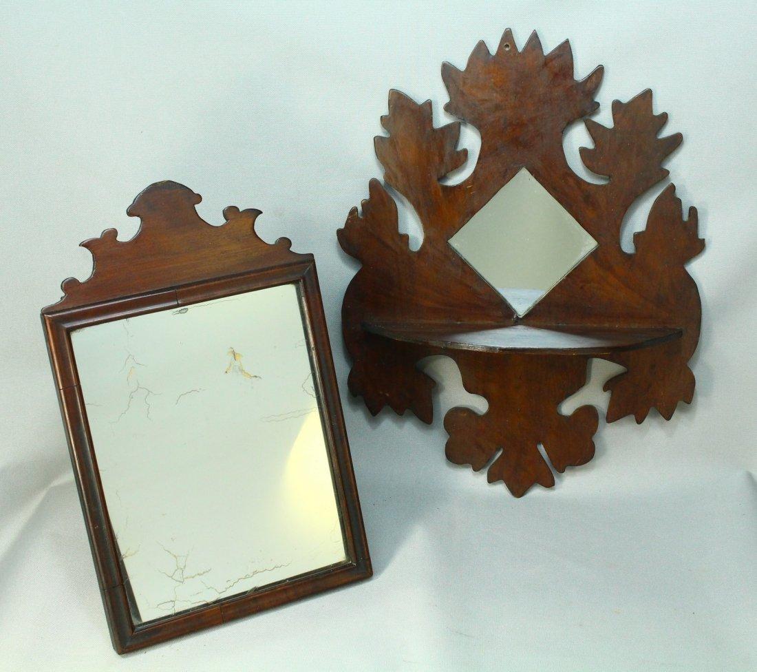 Two 19th c. Mirrors - American Federal & Folk Art Shelf