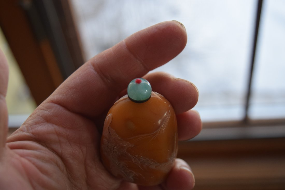 Chinese tianhuang snuff bottle, jadeite cap