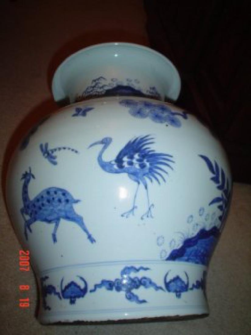 Chinese large blue and white late ming vase.