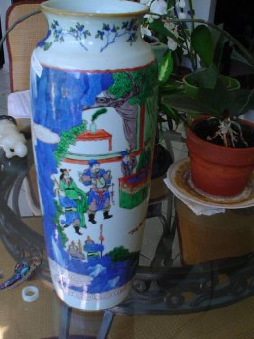 large Chinese famille verte kangxi vase