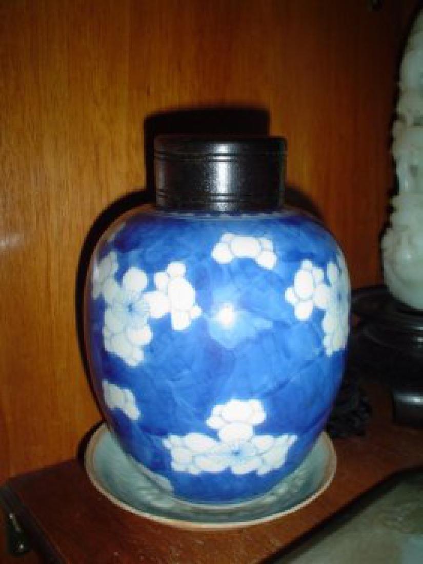 chinese small kangxi blue and white jar.