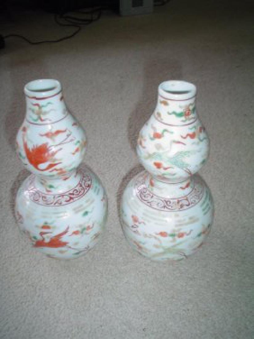 Chinese a pair of late ming early qing vases.