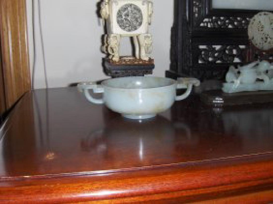 Chinese ming vessel. Very nice white jade 7 inch width.