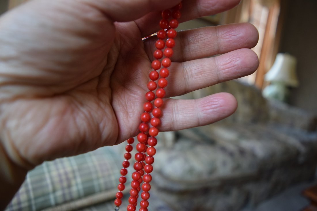 Chinese coral necklace. - 5