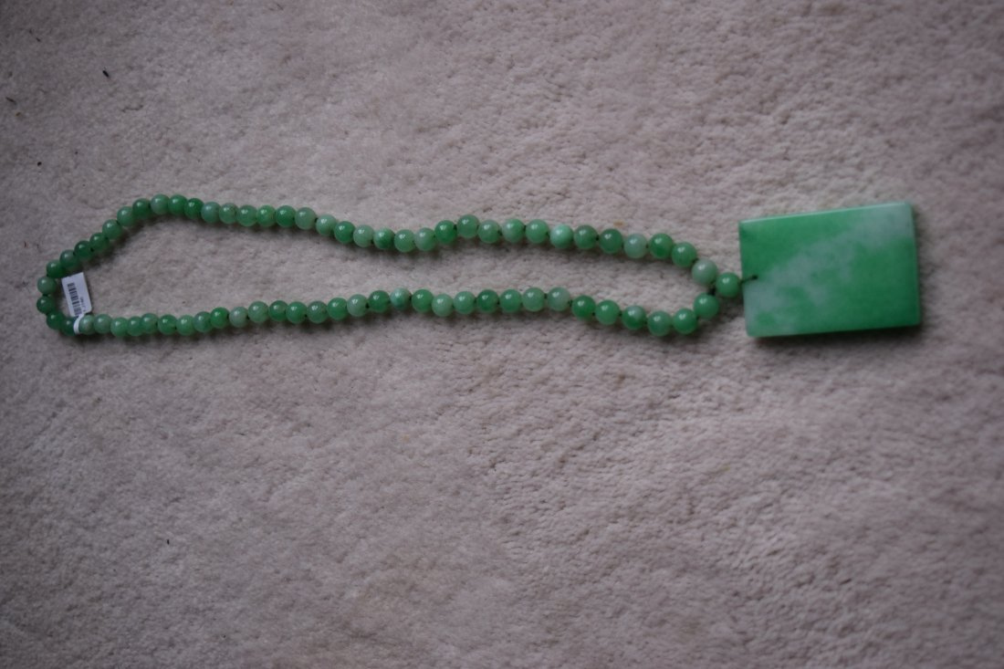 Chinese jade necklace and pendent.
