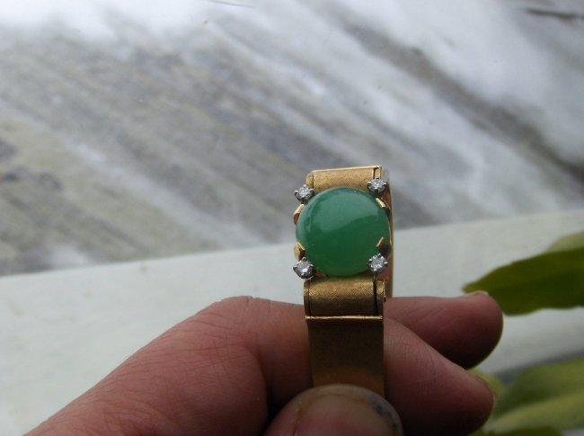 Chinese 14K gold diamond jadeite bangle. 38Gram