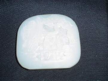 Chinese qing dynasty white jade scenary carving.