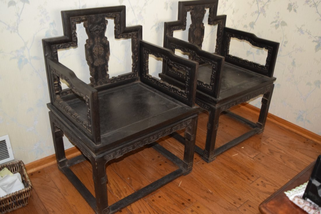Chinese a pair of qing dynasty zitan chairs.