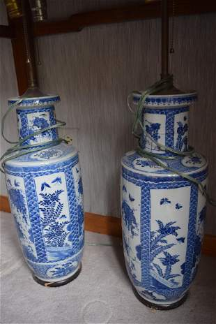 a pair of blue and white kangxi lamps. museum quality