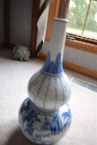 kangxi blue and white double gourd vase