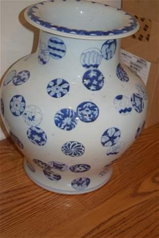 large ming blue and white vase.