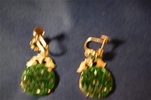 pair of jade and diamonds earrings.