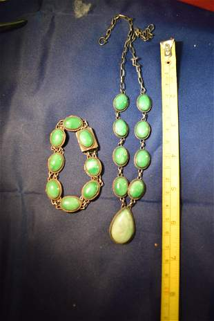 antique silver jade necklace. qing dynasty marked.