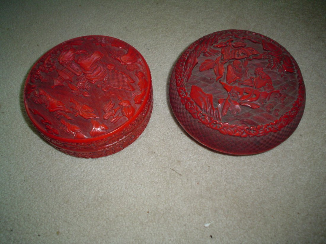 Chinese red cover boxes.