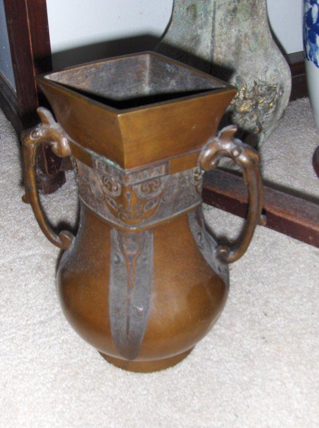 chinese qing dynasty bronze vase. xuande mark
